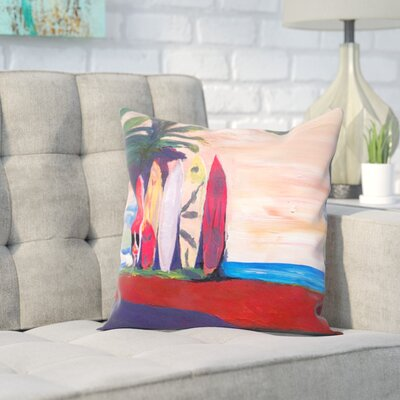 Markus Bleichner Skiles Surf Board Fence Wall at the Seaside Throw Pillow Size: 16 H x 16 W x 2 D