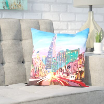 Markus Bleichner Sorrentino San Francisco Columbus St. with Cafe Vesuvio and Transamerica at Dawn Throw Pillow Size: 16 H x 16 W x 2 D