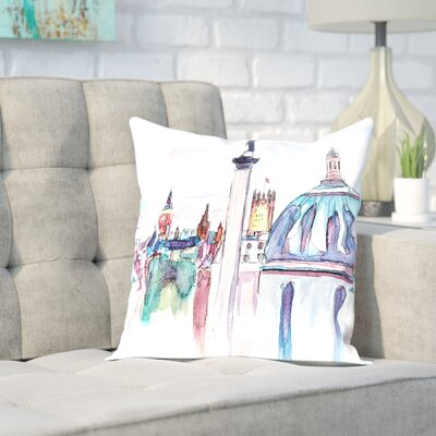 Markus Bleichner Schoenfeld London Skyline with Big Ben and Nelson Throw Pillow Size: 16 H x 16 W x 2 D