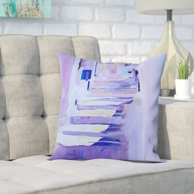 Markus Bleichner Caruthers Enchanting Mykonos Greek Islands Stairs Throw Pillow Size: 16 H x 16 W x 2 D