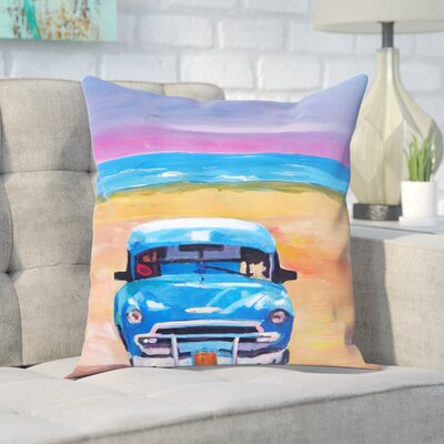 Markus Bleichner Choquette Magnificient Blue Old-timer in Cuba at Beach Throw Pillow Size: 18 H x 18 W x 2 D
