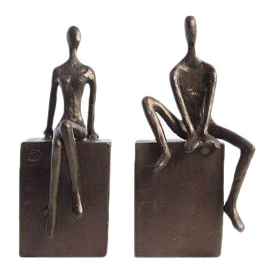 Brayden Studio Man & Woman Sitting on a Block Bookends
