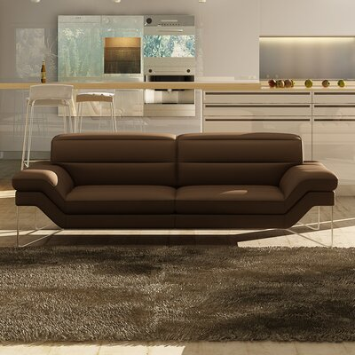 Braylen Leather Sofa Upholstery: Chocolate