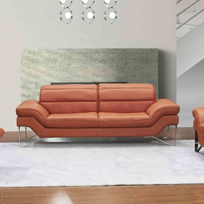 Braylen Leather Sofa Upholstery: Pumpkin
