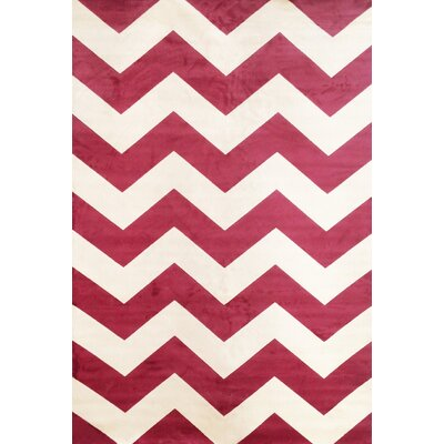 Foulds Raspberry/Ivory Area Rug Rug Size: 53 x 76