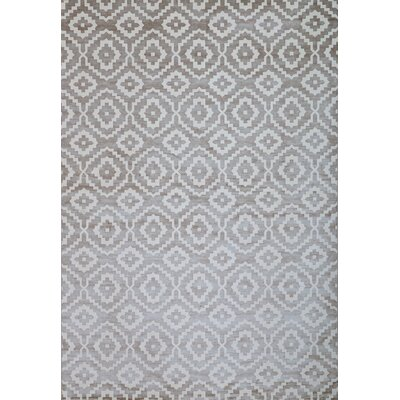 Foulds Silver-Grey/White Area Rug Rug Size: 53 x 76