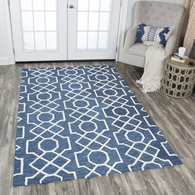 Arcand Hand-Tufted Dark Blue Area Rug