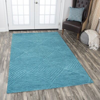 Arcand Hand-Tufted Teal Area Rug