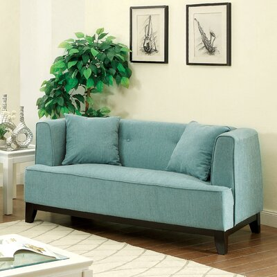 Husman Modern Loveseat Upholstery: Light Blue