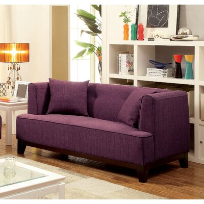 Husman Modern Loveseat Upholstery: Purple