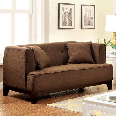 Husman Modern Loveseat Upholstery: Brown