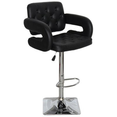 Epperson Adjustable Height Swivel Bar Stool Upholstery: Black