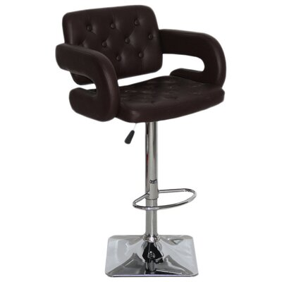 Epperson Adjustable Height Swivel Bar Stool Upholstery: Chocolate