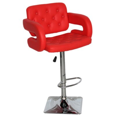 Epperson Adjustable Height Swivel Bar Stool Upholstery: Red
