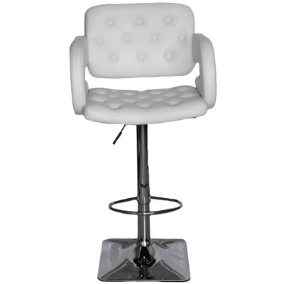 Epperson Adjustable Height Swivel Bar Stool Upholstery: White