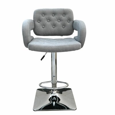 Epperson Adjustable Height Swivel Bar Stool Upholstery: Grey