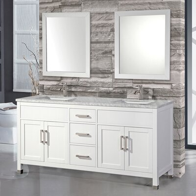 Denault 84 Double Sink Bathroom Vanity Set with Mirror Base Finish: White