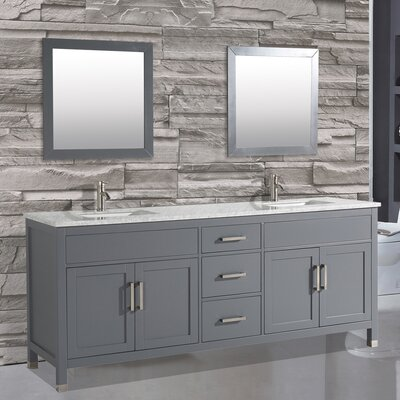 Denault 84 Double Sink Bathroom Vanity Set with Mirror Base Finish: Gray
