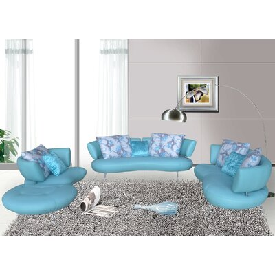 Bosco 4 Piece Modern Top Grain Leather Sofa Set Upholstery: Light Blue