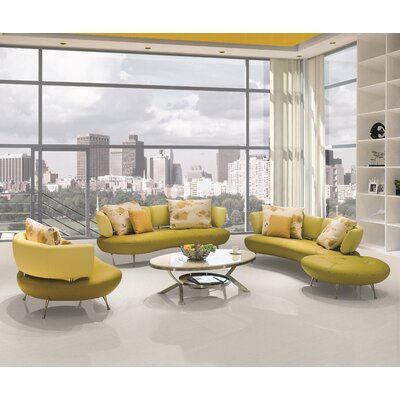 Bosco 4 Piece Modern Top Grain Leather Sofa Set Upholstery: Lemon Green