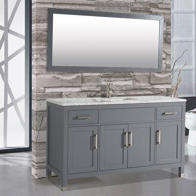 Denault 60 Single Sink Bathroom Vanity Set with Mirror Base Finish: Gray