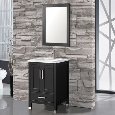 Denault 24 Single Sink Bathroom Vanity Set with Mirror Base Finish: Espresso