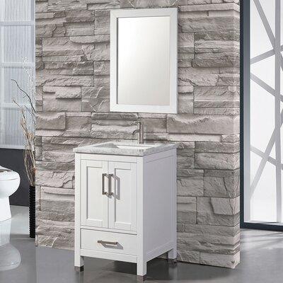 Denault 24 Single Sink Bathroom Vanity Base Finish: White