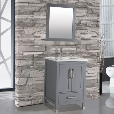 Denault 24 Single Sink Bathroom Vanity Base Finish: Gray
