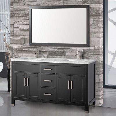 Denault 60 Double Sink Bathroom Vanity Set with Mirror Base Finish: Espresso