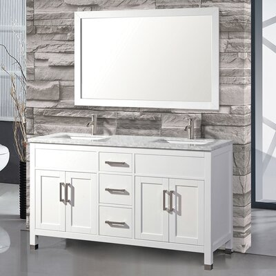 Denault 60 Double Bathroom Vanity Set Base Finish: White