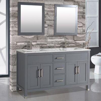 Denault 60 Double Bathroom Vanity Set Base Finish: Gray