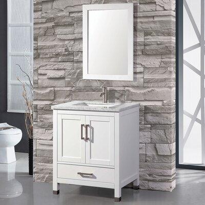 Denault 30 Single Sink Bathroom Vanity Set with Mirror Base Finish: White