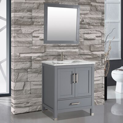 Denault 30 Single Sink Bathroom Vanity Set with Mirror Base Finish: Gray