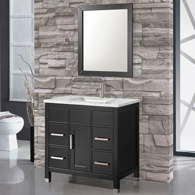 Denault 36 Single Sink Bathroom Vanity Set with Mirror Base Finish: Espresso