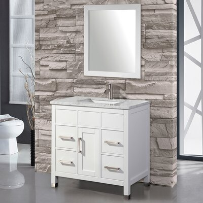 Denault 36 Single Sink Bathroom Vanity Set with Mirror Base Finish: White