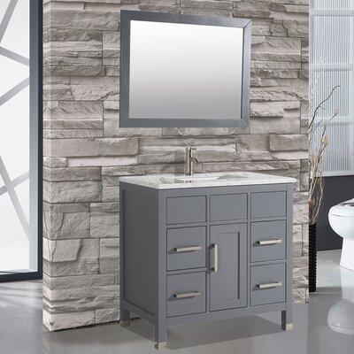 Denault 36 Single Sink Bathroom Vanity Set with Mirror Base Finish: Gray