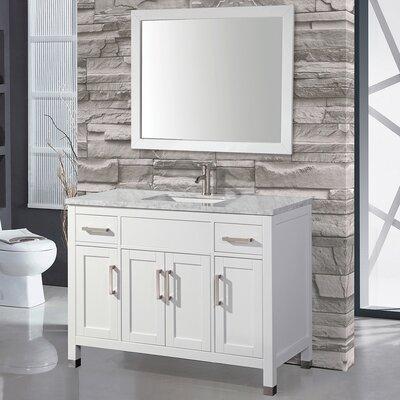 Denault 48 Single Sink Bathroom Vanity Set with Mirror Base Finish: White