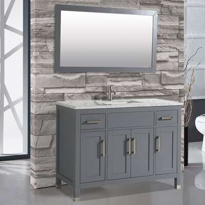 Denault 48 Single Sink Bathroom Vanity Set Base Finish: Gray