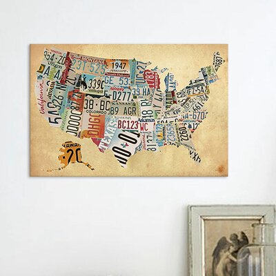 'Vintage Plate Map' Graphic Art on Wrapped Canvas