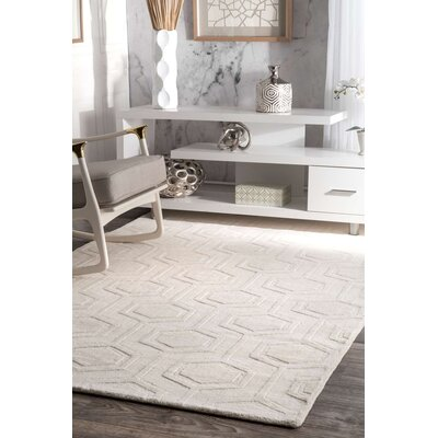 Schuykill Hand-Woven Ivory Area Rug Rug Size: 5 x 8