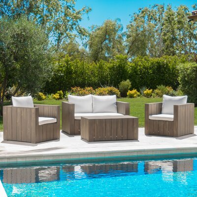 Zumwalt 4 Piece Seating Group with Cushion Finish: White