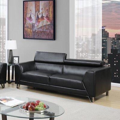 Runkle Headrest Sofa Upholstery: Black