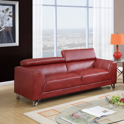 Runkle Headrest Sofa Upholstery: Red