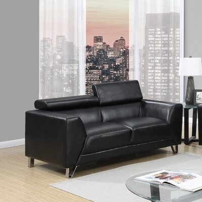Runkle Adjustable Headrest Loveseat Upholstery: Black