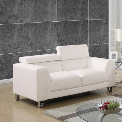 Runkle Adjustable Headrest Loveseat Upholstery: White
