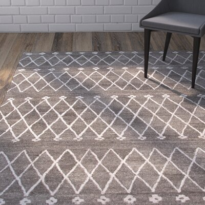Englert Hand-Woven Wool Gray/Ivory Area Rug Rug Size: Rectangle 4 x 6