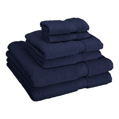 Cotton 6 Piece Towel Set Color: Navy Blue