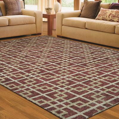 Lopresti Hand-Knotted Burgundy/Ivory Area Rug Rug Size: Rectangle 56 x 8