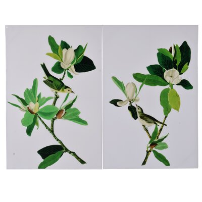 'Mangolia Blooms' 2 Piece Graphic Art Print Set on Canvas