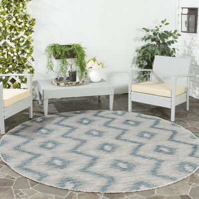 Mcguffin Gray/Blue Indoor/Outdoor Area Rug Rug Size: Round 67